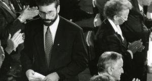 Sinn Féin president Gerry Adams being applauded by delegates   after addressing the opening session of the Forum for Peace and Reconciliation at Dublin Castle in 1991. Photograph: Frank Miller