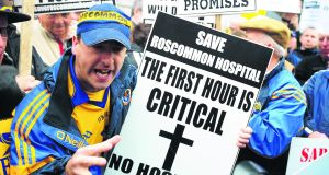A Roscommon Hospital protest outside Leinster House in July 2011. Photograph: Aidan Crawley