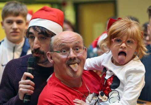 STAR TURN: Brendan O'Carroll and Zoe Lonergan (7) at the annual Celebrity Ward Walk at Our Lady's Children's Hospital, Crumlin. Photograph: Colin Keegan/Collins