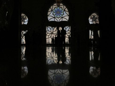 FRIDAY PRAYER: People leave Sheikh Zayed Grand Mosque after attending Friday prayer, in Abu Dhabi, United Arab Emirates. Photograph: Suhaib Salem/Reuters