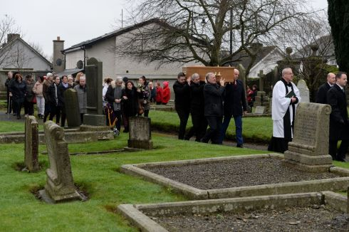 PAY TRIBUTE: The funeral procession of much-loved Trim resident Margaret Lang (58), which was paid for by the local community. Photograph: Alan Betson/The Irish Times