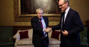 Tánaiste Simon Coveney meets then British foreign secretary Boris Johnson, a prominent Brexiteer,   at the Foreign and Commonwealth Office in London on January 31st last. Photograph:  Jack Taylor/AFP/Getty Images.