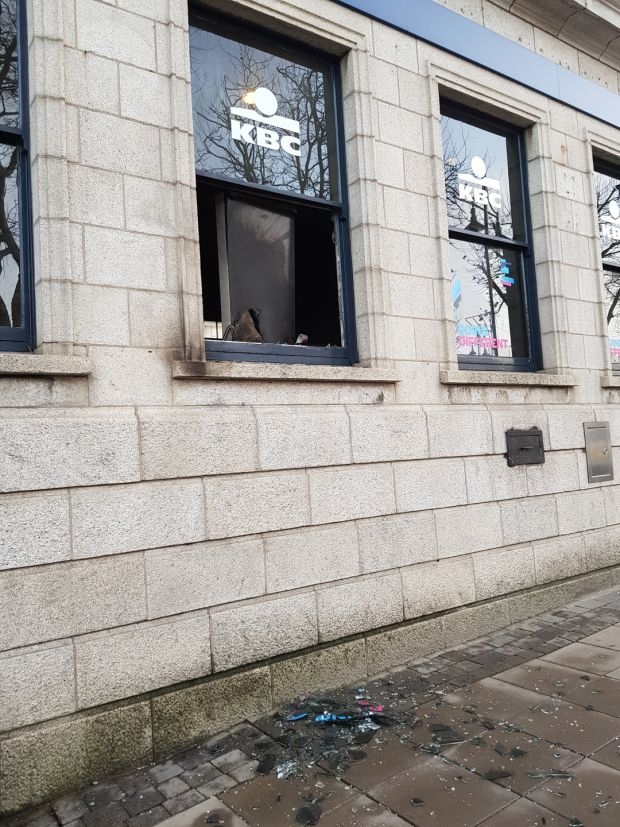 A Garda spokesman said initial investigations found the front window of the building was broken. Photograph: Patrick Logue