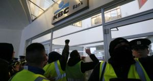 Yellow vest protesters confront gardaí at a KBC bank Irish headquarters on Sandwith Street,  Dublin on Saturday. Photograph: RollingNews