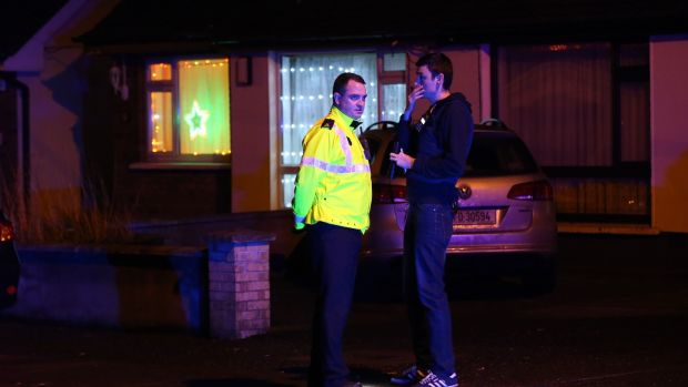 Gardaí preserve the scene at a shooting at Blakestown Cottages, Co Dublin. Photograph: Stephen Collins/Collins Photos