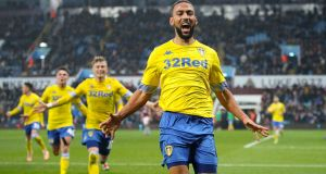 Leeds United's Kemar Roofe celebrates after scoring the winning goal in stoppage-time in the Championship clash against Aston Villa at Villa Park. Photograph:  : Nick Potts/PA Wire