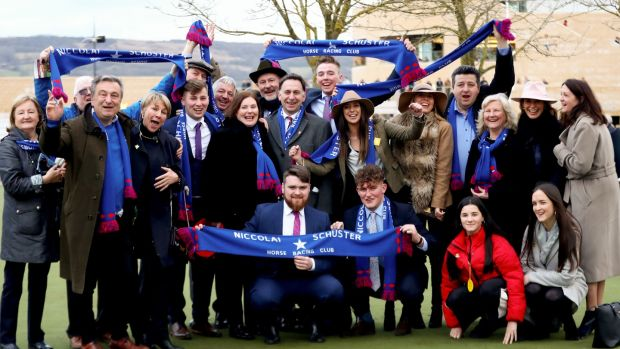 Members of the Niccolai Schuster Horse Racing Club after their horse Ellie Mac rode in the Trulls House Stud Mares Novice Hurdle at Cheltenham in March. Photograph: James Crombie/Inpho
