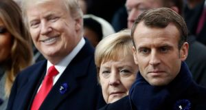 US president Donald Trump and French president Emmanuel Macron. Photograph: Benoit Tessier/AFP/Getty Images