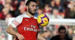 Arsenal's  defender Sead Kolasinac in action against Burnley. Photograph:  AFP/Getty Images