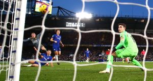 Jamie Vardy fires Leicester's winner past Chelsea goalkeeper  Kepa Arrizabalaga  at Stamford Bridge. Photograph: Clive Rose/Getty Images