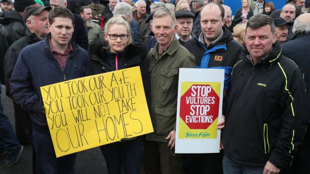 Protesters in Strokestown, Co Roscommon. Photograph: Brian Lawless/PA Wire