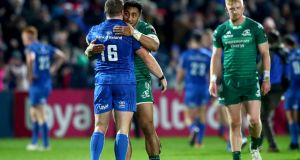 Leinster's Sean Cronin and Bundee Aki of Connacht at the final whistle after Leinster's last-gasp victory at the RDS. Photograph: James Crombie/Inpho