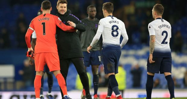 Tottenham Hotspur manager Mauricio Pochettino celebrates after the final whistle against Everton at Goodison Park. Photograph: Peter Byrne/PA Wire