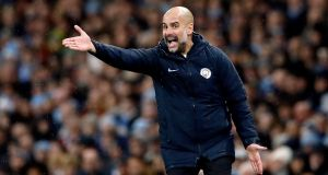 Pep Guardiola: Manchester City manager knows there is still a long way to go in the title race despite unexpected setback against Crystal Palace. Photograph: Martin Rickett/PA