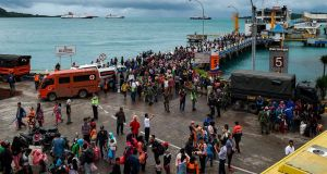 Residents disembark from a ferry at the port after being evacuated from Sebesi Island, in Bakauheni in Lampung province on December 26th, 2018. Photograph: Mohd Rasfan/AFP/Getty Images
