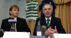 Shamrock Rovers chairman Joe Colwell (right) at the announcement that Liam Buckley was to take over as manager  in April 2002. Photograph:  Andrew Paton/Inpho