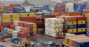 Shipping containers and freight in Dublin Port. Photograph: Alan Betson / The Irish Times