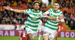 Celtic's Scott Sinclair celebrates scoring his side's second goal at Pittodrie Stadium. Photograph: PA