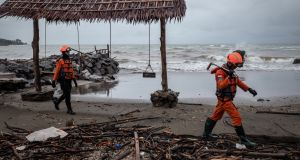 Search and rescue personnel look for victims of the tsunami on December 26th,  in Carita,  Indonesia, which was caused by land shifting on Anak Krakatau volcano.  Photograph:  Ulet Ifansasti/Getty Images