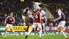 Yerry Mina scores against Burnley at Turf Moor. Photograph: Bryn Lennon/Getty Images