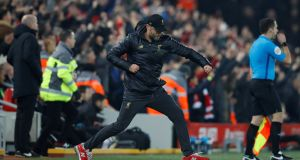 Liverpool manager Jurgen Klopp celebrates his team's fourth goal against Newcastle. Photograph: Reuters