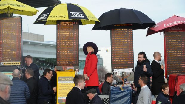 Bookmakers pictured at Leopardstown Racecourse, Co Dublin. Photograph: Aidan Crawley/The Irish Times
