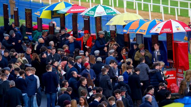 Racegoers at Leopardstown Racecourse, Co Dublin. Photograph: Inpho/Tommy Dickson