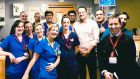 Taoiseach Leo Varadkar on Christmas Day  with staff at the emergency department at Cork University Hospital.