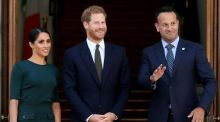 Taoiseach Leo Varadkar with Harry and Meghan at the start of their two-day visit. Photograph: Paul Faith/AFP/Getty