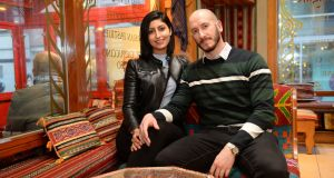 Dalal Alshohaib, from Saudi Arabia, and her new partner, Erik Van der Veken, from Belgium. Photograph: Dara Mac Dónaill