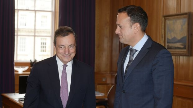 President of the European Central Bank, Mario Draghi and Taoiseach Leo Varadkar at Government Buildings. Photograph: Alan Betson