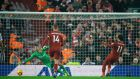 Liverpool's Mohamed Salah scores a penalty against Newcastle at Anfield. Photograph: EPA