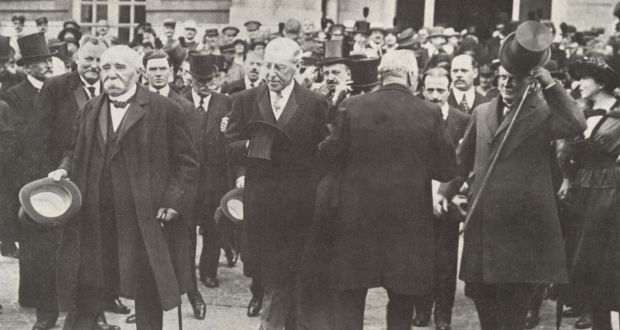 French president Georges Clemenceau, US president Woodrow Wilson and British prime minister David Lloyd-George at the Paris Peace Conference