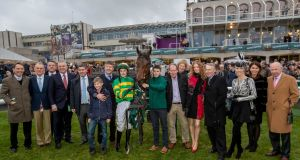 Donal McInerney and connections after winning The Paddy Power Steeplechase on Auvergnat . Photograph: Morgan Treacy/Inpho