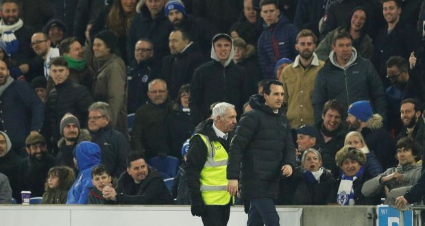 97921bb3f5 Arsenal manager Unai Emery after kicking a bottle into the crowd.  Photograph: Reuters