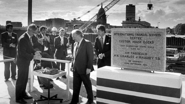 Taoiseach Charles Haughey laying the foundation stone of the International Financial Services Centre (IFSC) at Custom House Dock, Dublin, in September 1988. Photograph: Pat Langan