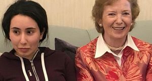 This December  15th, 2018, photograph, shows Sheikha Latifa bint Mohammed Al Maktoum, a daughter of Dubai's ruler Sheikh Mohammed bin Rashid Al Maktoum, with Mary Robinson. Photograph: United Arab Emirates Ministry of Foreign Affairs and International Co-operation via AP