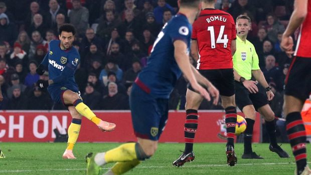 West Ham's Felipe Anderson scores his first goal against Southampton at St Mary's on Thursday night. Photograph: Reuters