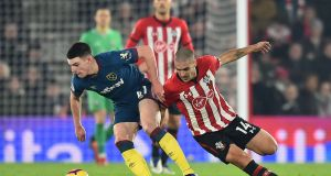 West Ham United's Irish midfielder Declan Rice in action against Southampton's Oriol Romeu at St Mary's Stadium. Photograph: Getty Images