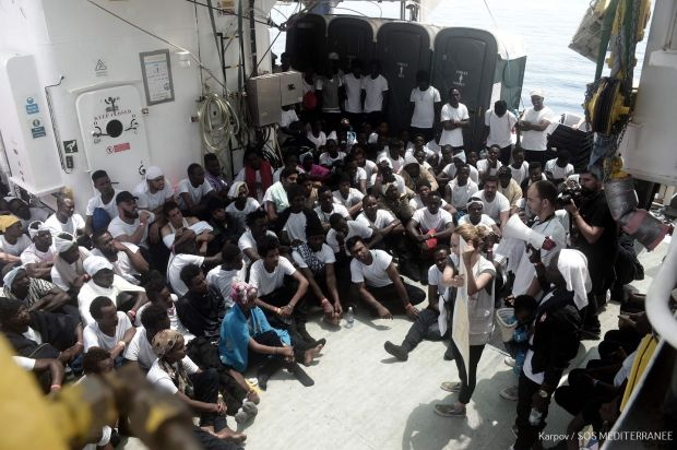 Rescued migrants aboard the Aquarius. Photograph: Getty Images