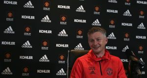 Caretaker manager Ole Gunnar Solskjaer of Manchester United speaks during a press conference at Aon Training Complex. Photo: Matthew Peters/Man Utd via Getty Images