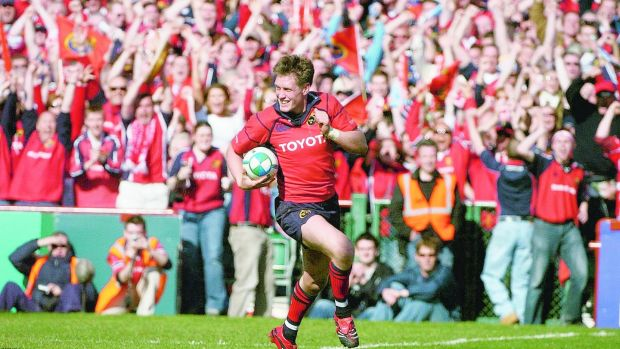 Munster's Ronan O'Gara crosses the line to score his side's second try during the victory over Leinster in the Heineken Cup semi-final at Landsdowne Road in 2006. Photograph: Brendan Moran/Sportsfile