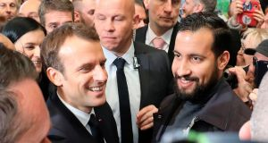 French president Emmanuel Macron and former Élysée senior security officer Alexandre Benalla. Photograph: Ludovic Marin/AFP/Getty Images