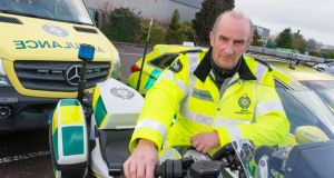 Tony Kelly of the HSE's motorcycle response unit: Photograph: Michael Mac Sweeney/Provision