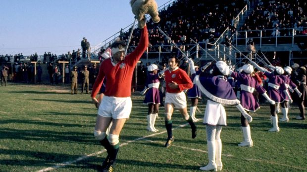 Willie John McBride leads the Lions out during the victorious tour of South Africa in 1974. Photograph: Inpho/Allsport