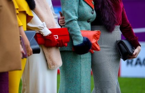 SHOWING OFF: A look at some of the women's fashions on show at the Leopardstown Races in Dublin. Photograph: Tommy Dickson/Inpho