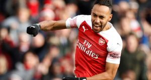 Pierre-Emerick Aubameyang celebrates scoring Arsenal's second goal against Burnley at the Emirates Stadium on December 22nd. Photograph: John Sibley/Reuters