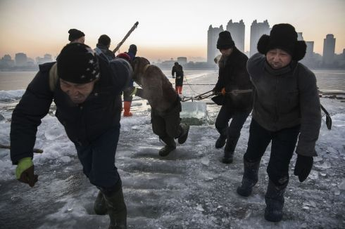 A team of Chinese workers pull a large block of ice that will be used in the making of ice sculptures from the frozen Songhua River in preparation for the Harbin Ice and Snow Festival. Photograph: Kevin Frayer/Getty Images