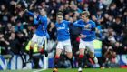 Rangers' Ryan Jack celebrates scoring their first goal during the Scottish Premiership match against Celtic at Ibrox. Photo: Russell Cheyne/Reuters