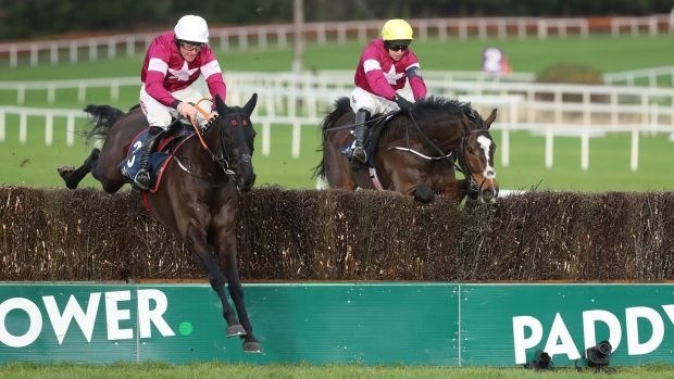 Delta Work (L) and Davy Russell on their way to Grade One success at Leopardstown. Photograph: Niall Carson/PA